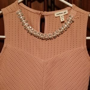 Monteau Girls dress with jeweled neck